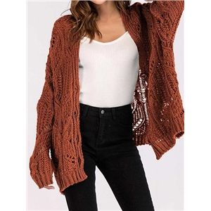 Brown Button Placket Front Long Sleeve Chic Women Knit Cardigan