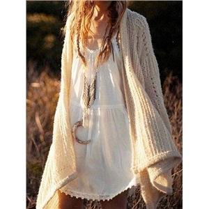 Beige Open Front Cut Out Detail Long Sleeve Chic Women Knit Cardigan