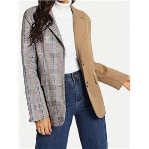 Multicolor Plaid Cotton Lapel Long Sleeve Chic Women Blazer