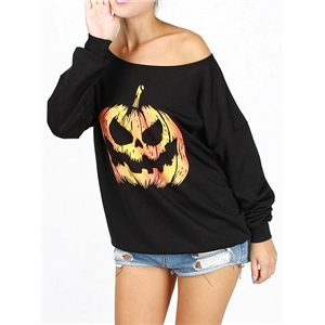 Black Pumpkin Print Long Sleeve Chic Women Fleece Sweatshirt