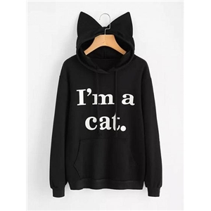 Black Cotton Letter Print Cat Ear Long Sleeve Chic Women Hoodie