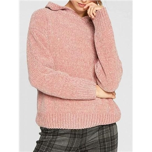 Pink Long Sleeve Chic Women Knit Hoodie