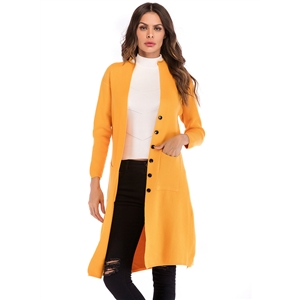 Single Breasted Shawl Coat Long Sleeved Knit Loose Cardigan