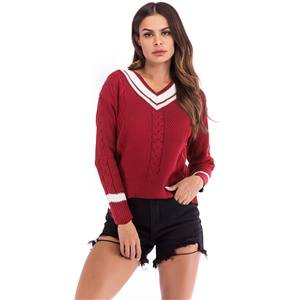 Contrast Color V-neck Knit Striped Stitching Twist Pullover