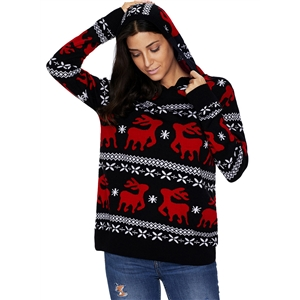 Christmas Elk Knit Round Neck Long Sleeve Hooded Sweater