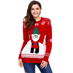 Christmas Santa Claus Printed Round Neck Long Sleeve Sweater