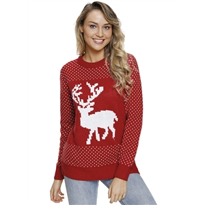 Christmas Elk Ribbed Knit Round Neck Long Sleeve Slim Turtleneck Sweater