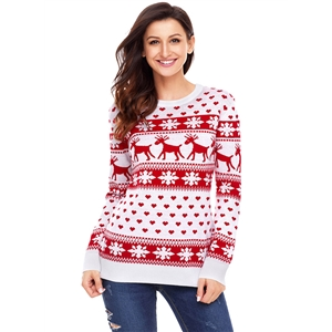 Plus Size Round Neck Long Sleeve Christmas Deer Sweater