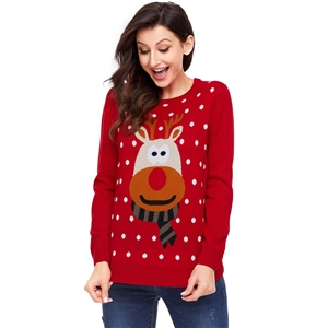 Plus Size Bottoming Round Neck Long Sleeve Christmas Elk Sweater