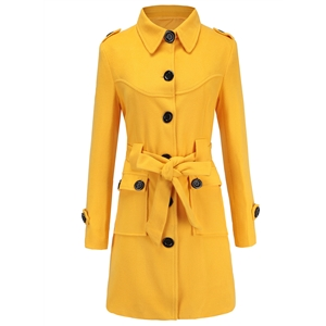 Yellow Single Breasted Rear Opening Slim Woolen Belt Trench Coat