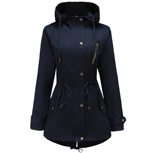 Navy Autumn Winter Medium long Thin Drawstring Trench Coat