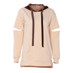 Beige Womens Ripped Long Sleeve Color Block Loose Velvet Hoodie With Pocket