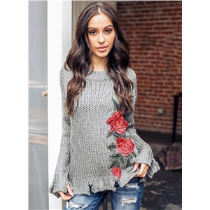Hand Hook Embroidered Pullover Sweater