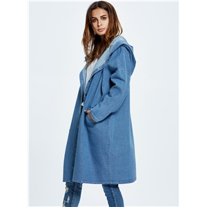 Blue Hooded Long Jean Coat Casual Long Sleeve Denim Jacket Outwear Overcoat