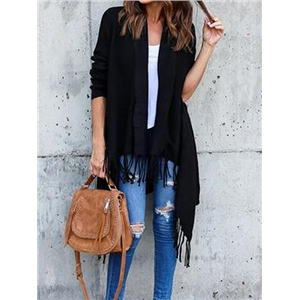 Black Open Front Tassel Trim Long Sleeve Wool Cardigan