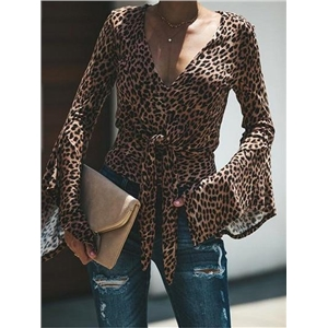 Brown V-neck Leopard Print Tie Front Flare Sleeve Blouse