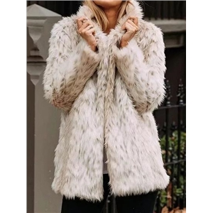 Beige Lapel Long Sleeve Chic Women Faux Fur Coat