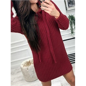 Red Ribbed Long Sleeve Chic Women Hoodie