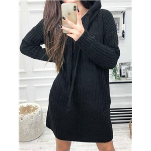 Black Ribbed Long Sleeve Chic Women Hoodie