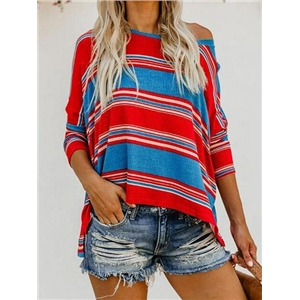 Red Contrast Stripe Ribbed Split Side Long Sleeve T-shirt