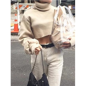 Light Khaki Ribbed High Neck Puff Sleeve Chic Women Crop Sweater