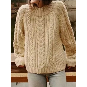 Beige Long Sleeve Chic Women Knit Sweater