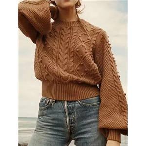 Brown Fluffy Ball Detail Puff Sleeve Chic Women Knit Sweater