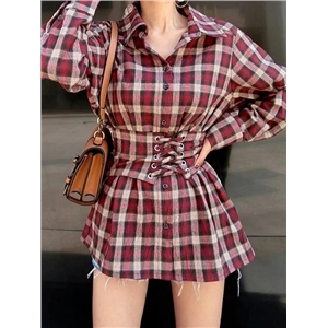 Red Plaid Cotton Blend Eyelet Lace Up Front Long Sleeve Shirt