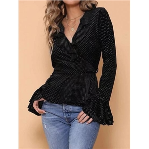 Black V-neck Polka Dot Print Ruffle Hem Flare Sleeve Blouse