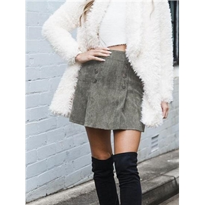 Gray High Waist Double Breasted Front Corduroy Mini Skirt