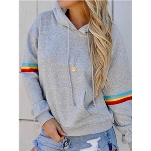 Gray Cotton Stripe Panel Pouch Front Long Sleeve Hoodie
