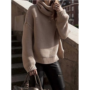 Khaki High Neck Split Side Long Sleeve Knit Sweater