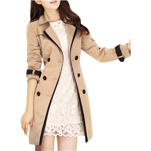 Womens Long Sleeve Double Breasted Trench Coat with Belt