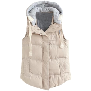 Winter Vest Outwear with Drawstring Detachable Hood