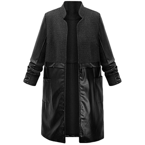 PU Leather Panel Open front Trench Coat