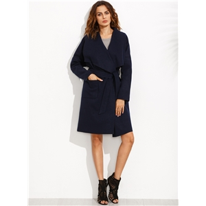 Solid Long Sleeve Trench Coat with Belt