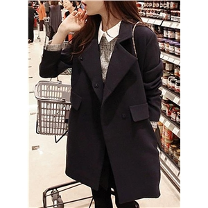 Fashion Solid Long Sleeve Woolen Trench Coat