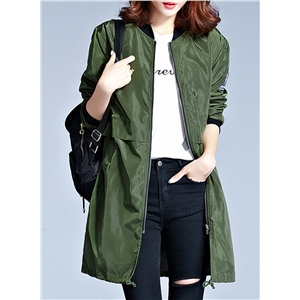 Fashion Full Zip Long Sleeve Trench Coat