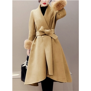 Turn Down Collar Faux Fur Splicing Coat with Belt