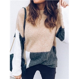 Beige Contrast Long Sleeve Chic Women Sweater