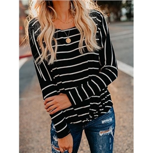 Black Stripe Ribbed Knot Front Long Sleeve T-shirt