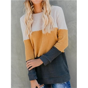 Multicolor Long Sleeve Chic Women Knit Sweater
