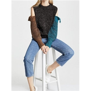 Multicolor Crew Neck Cold Shoulder Long Sleeve Knit Sweater