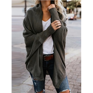Dark Green Open Front Batwing Sleeve Knit Cardigan