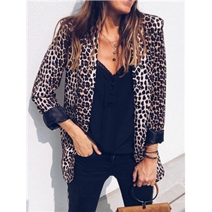 Brown Lapel Leopard Print Long Sleeve Blazer