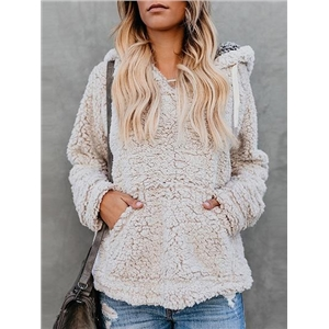 Beige V-neck Pouch Pocket Long Sleeve Fluffy Hoodie