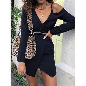 Black V-neck Tie Waist Long Sleeve Chic Women Mini Dress