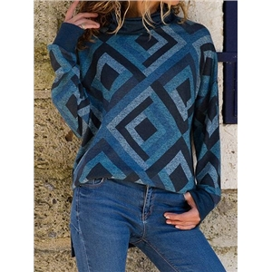 Blue High Neck Geo Pattern Print Long Sleeve Sweatshirt