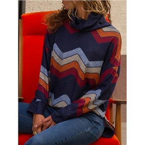Multicolor High Neck Geo Pattern Print Long Sleeve Sweatshirt