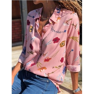 Pink Chiffon Floral Print Long Sleeve Chic Women Shirt